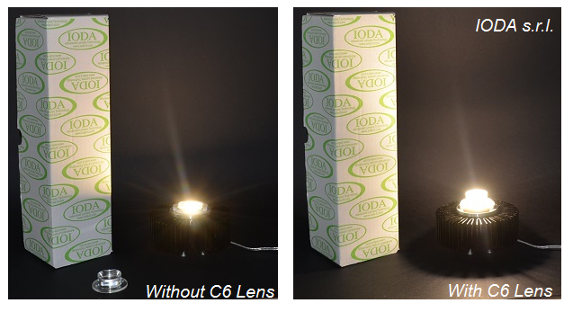 Test bench for  C6 series COB led Lens diffuser by IODA s.r.l.