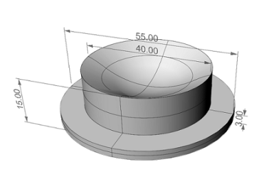 Drawing of C7 diffures led lens by IODA s.r.l.