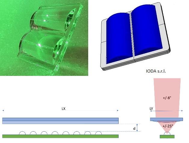 Bi-cylindrical led lens for Kria s.r.l.