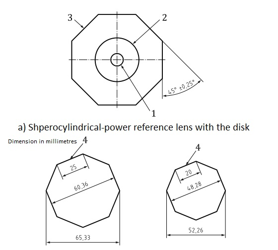 Drawing of octagonal test lens